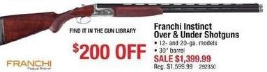 Cabelas Black Friday: Franchi Instinct Over & Under Shotguns, 12-ga and 20-ga for $1,399.99