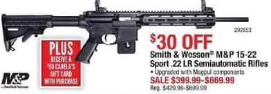 Cabelas Black Friday: Smith & Wesson M&P 15-22 Sport .22LR Semiautomatic Rifle + $50 Cabela's Gift Card for $399.99 - $669.99