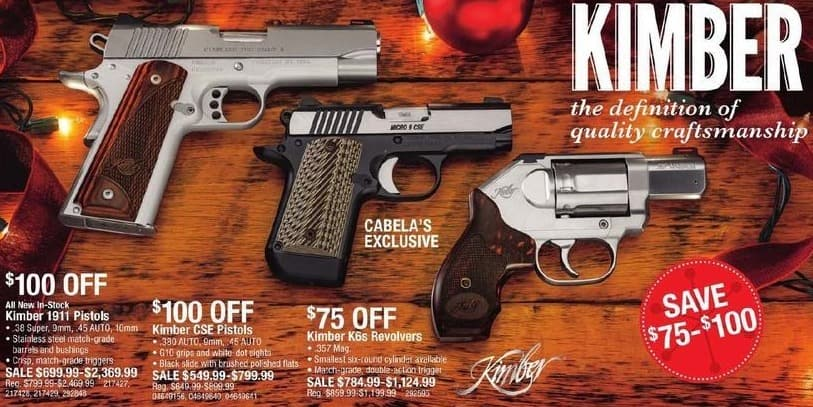 Cabelas Black Friday: Kimber 1911 Pistols, .38 Super, 9mm, .45 AUTO, and 10mm Calibers for $699.99 - $2,369.99