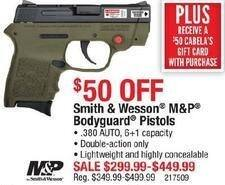 Cabelas Black Friday: Smith & Wesson M&P Bodyguard Pistols, .380 AUTO + $50 Cabela's Gift Card for $299.99 - $449.99