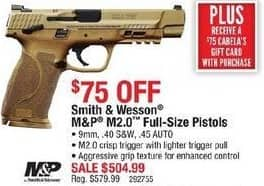 Cabelas Black Friday: Smith & Wesson M&P M2.0 Full-Size Pistol, 9mm, .40 S&W, and .45 AUTO Calibers + $75 Cabela's Gift Card for $504.99