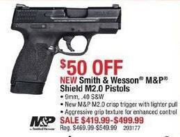 Cabelas Black Friday: Smith & Wesson M&P Shield M2.0 Pistols, 9mm and .40 S&W Calibers for $419.99 - $499.99