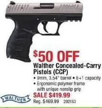 Cabelas Black Friday: Walther Concealed-Carry Pistols (CCP), 9mm for $419.99