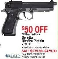 Cabelas Black Friday: Beretta Rimfire Pistols, .22LR for $279.99 - $429.99