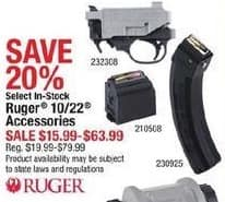 Cabelas Black Friday: Ruger 10/22 Accessories, Select Styles for $15.99 - $63.99