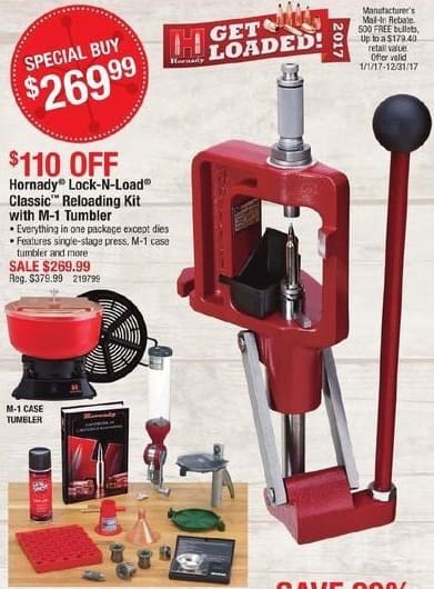 Cabelas Black Friday: Hornady Lock-n-Load Classic Reloading Kit with M-1 Tumbler and 500 Bullets for $269.99