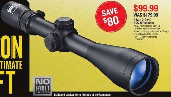 Cabelas Black Friday: Nikon 3-9x4 BDC Riflescope for $99.99