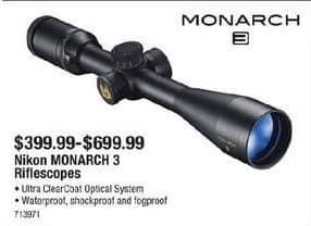 Cabelas Black Friday: Nikon Monarch 3 Riflescopes for $399.99 - $699.99