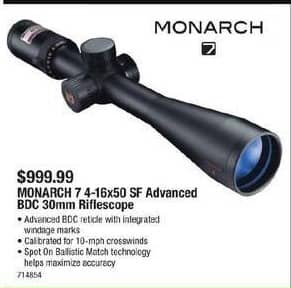 Cabelas Black Friday: Nikon Monarch 7 4-16x50 SF Advanced BDC 30mm Riflescope for $999.99