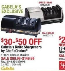 Cabelas Black Friday: Cabela's Chef's Choice Knife Sharpeners for $99.99 - $149.99