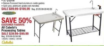 Cabelas Black Friday: All Cabela's Processing Tables for $39.99 - $99.99