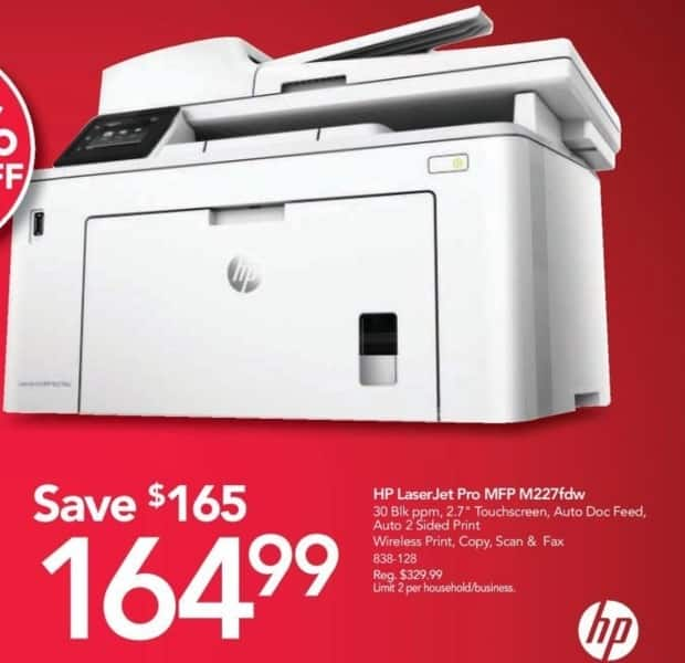 Office Depot and OfficeMax Black Friday: HP LaserJet Pro M227fdw MFP All-in-One Laser Printer for $164.99