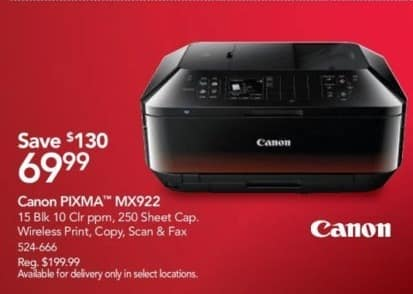 Office Depot and OfficeMax Black Friday: Canon PIXMA MX922 Wireless All-in-One Printer for $69.99