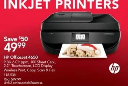 Office Depot and OfficeMax Black Friday: HP OfficeJet 4650 All-in-One Printer for $49.99