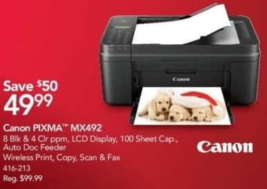 Office Depot and OfficeMax Black Friday: Canon Pixma MX492 All-in-one Printer for $49.99