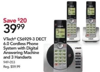 Office Depot and OfficeMax Black Friday: VTech CS6929-3 DECT 6.0 Cordless Phone System with 3 Handsets for $39.99