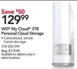 Office Depot and OfficeMax Black Friday: WD 3TB My Cloud Personal Cloud Storage for $129.99