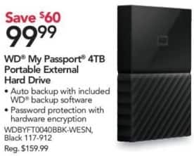 Office Depot and OfficeMax Black Friday: WD 4TB My Passport Portable External Hard Drive for $99.99
