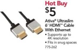 Office Depot and OfficeMax Black Friday: Ativa 6' Ultraslim HDMI Cable with Ethernet for $5.00