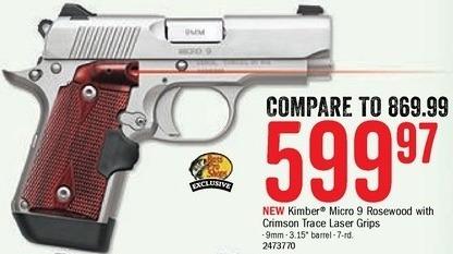 Bass Pro Shops Black Friday: Kimber Micro 9 Rosewood Handgun w/ Crimson Trace Laser Grips for $599.97