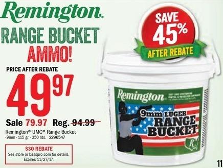 Bass Pro Shops Black Friday: Remington Range Bucket, 9mm, 350 rds. for $49.97