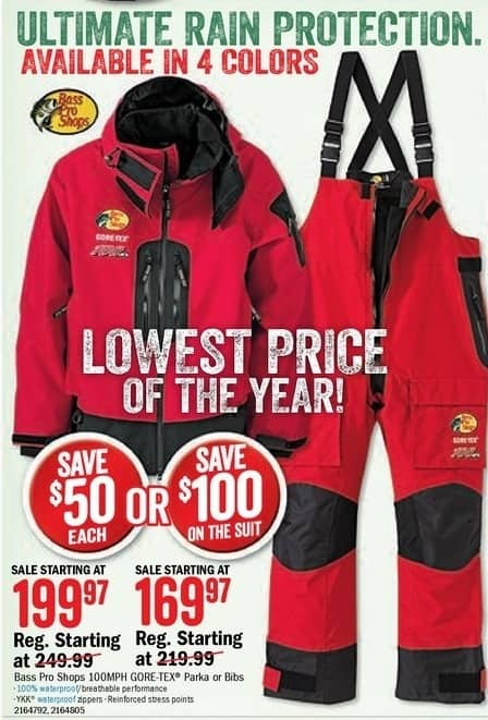 Bass Pro Shops Black Friday: Bas Pro Shops Men's 100MPH GORE-TEX Bib for $169.97