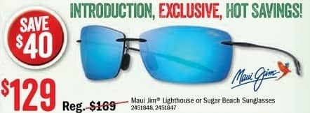 Bass Pro Shops Black Friday: Maui Jim Sunglasses in Lighthouse or Sugar Beach Styles for $129.99