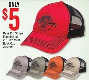 Bass Pro Shops Black Friday: Bass Pro Shops Established in 1972 Mesh Back Cap for $5.00