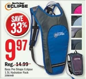 Bass Pro Shops Black Friday: Bass Pro Shops Eclipse 1.5L Hydration Pack for $9.97
