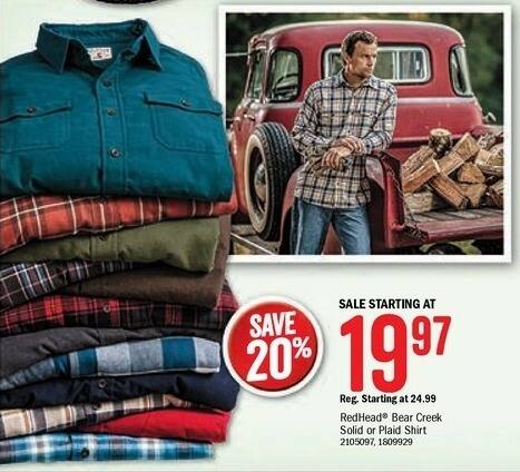 Bass Pro Shops Black Friday: RedHead Men's Bear Creek Shirt, Solid or Plaid Styles - 20% Off