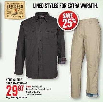 Bass Pro Shops Black Friday: Bear Creek Men's Flannel-Lined Pants for $29.97