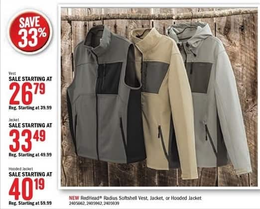 Bass Pro Shops Black Friday: RedHead Men's SoftShell Vests, Jackets, or Hooded Jackets - 33% Off