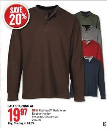 Bass Pro Shops Black Friday: RedHead Men's Workhorse Doubler Henley - 20% Off