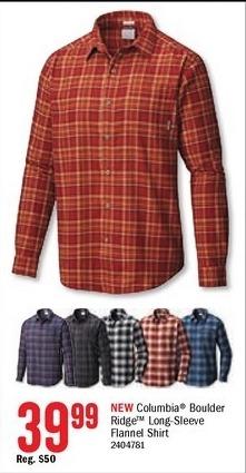 Bass Pro Shops Black Friday: Coumbia Men's Boulder Ridge Long-Sleeve Flannel Shirt for $39.99