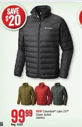 Bass Pro Shops Black Friday: Columbia Men's Lake 22 Down Jacket for $99.99