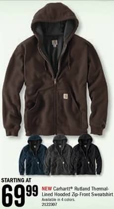 Bass Pro Shops Black Friday: Carhartt Men's Rutland Thermal-Lined Hooded Zip-Front Sweatshirt - Starting at $69.99