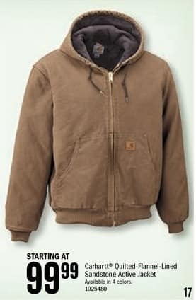 Bass Pro Shops Black Friday: Carhartt Men's Quilted-Flannel-Lined Sandstone Active Jacket - Starting at $99.99