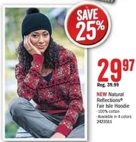 Bass Pro Shops Black Friday: Natural Reflections Women's Fair Isle Hoodie for $29.97
