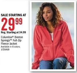 Bass Pro Shops Black Friday: Columbia Women's Benton Springs Full-Zip Fleece Jacket - Starting at $29.99