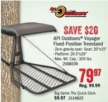Bass Pro Shops Black Friday: API Outdoors Voyager Fixed-Position Treestand for $79.97