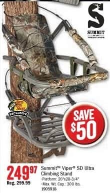 Bass Pro Shops Black Friday: Summit Viper SD Ultra Climbing Stand for $249.97