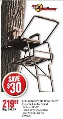 Bass Pro Shops Black Friday: API Outdoors 20' Ultra-St eel Extreme Ladder Stand for $219.97