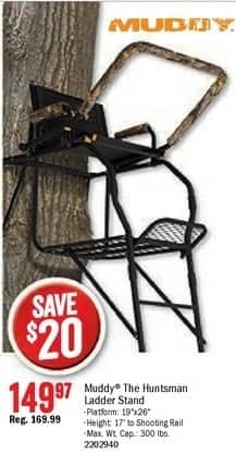 Bass Pro Shops Black Friday: Muddy The Huntsman Ladder Stand for $149.97