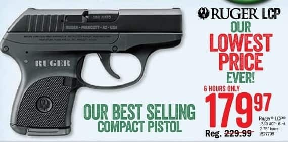 Bass Pro Shops Black Friday: Ruger LCP Handgun, .380 ACP for $179.97