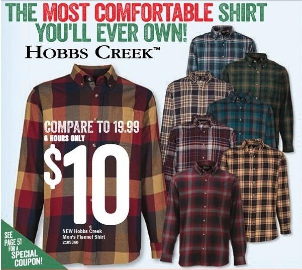 Bass Pro Shops Black Friday: Hobbs Creek Men's Flannel Shirt for $10.00