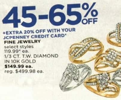JCPenney Cyber Monday: 1/3 ct tw Diamond Ring in 10K Gold for $149.99