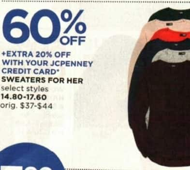 JCPenney Cyber Monday: Women's Sweaters, Select Styles - 60% Off