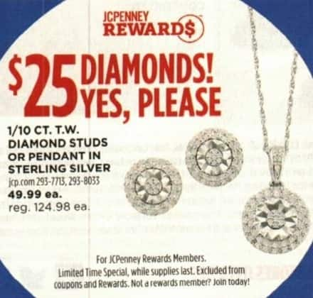 JCPenney Cyber Monday: 1/10 ct tw Diamond Studs or Pendant in Sterling Silver w/ JCPenney Rewards Membership for $25.00