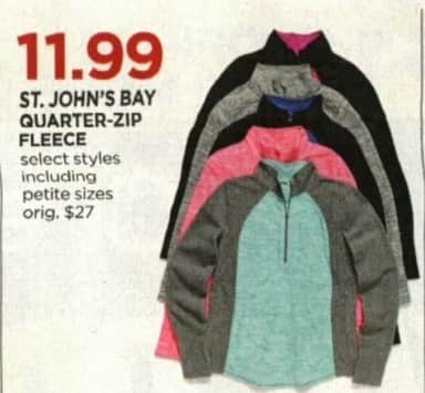 JCPenney Cyber Monday: St. John's Bay Women's Quarter-Zip Fleece, Select Styles for $11.99