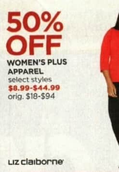 JCPenney Cyber Monday: Liz Claiborne Women's Plus Apparel, Select Styles - 50% Off